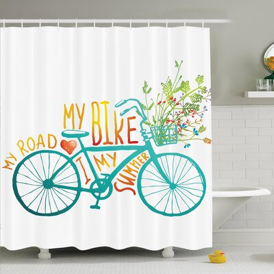 Summer Bike with Flowers Shower Curtain Set Size: 70 H x 69 W