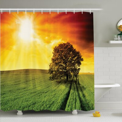 Nature Crop Field Countryside Shower Curtain Set Size: 75 H x 69 W