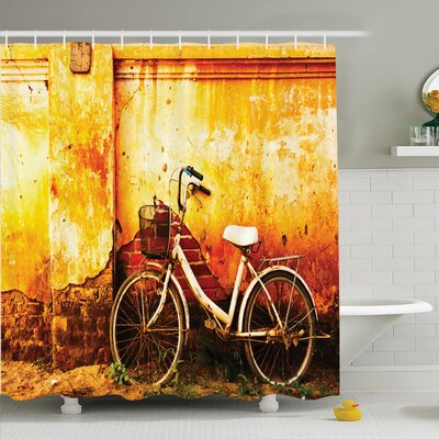 Retro Bike Rusty Cracked Wall Shower Curtain Set Size: 70 H x 69 W