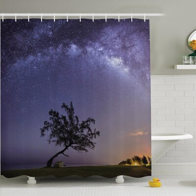 Tree Milky Way Stars Space Shower Curtain Set Size: 84 H x 69 W