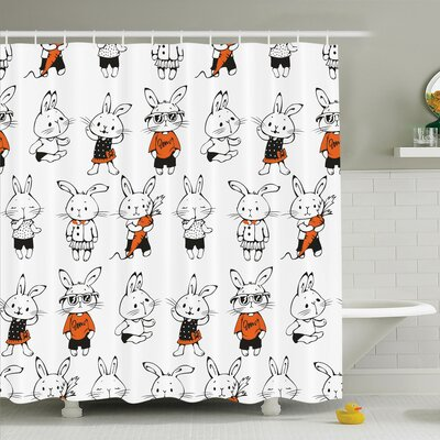 Gretna Cute Retro Bunny Rabbits Shower Curtain Set Size: 84 H x 69 W