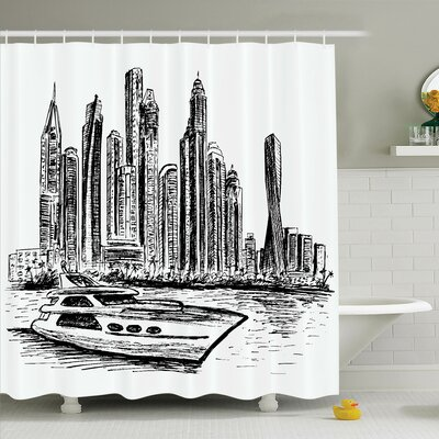 Sketch Prague Cathedral View Shower Curtain Set Size: 70 H x 69 W