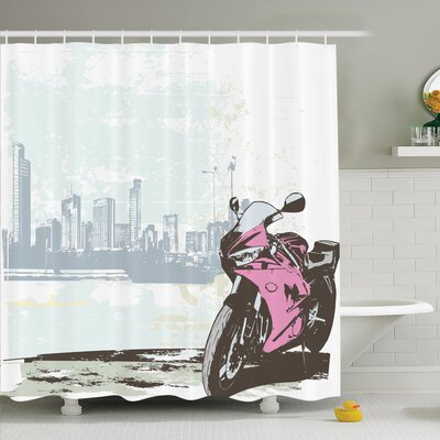 Donnell Motorbike by River Shower Curtain Set Size: 75 H x 69 W
