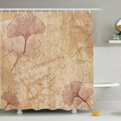 Vintage Leaves Grunge Shower Curtain Set Size: 70 H x 69 W