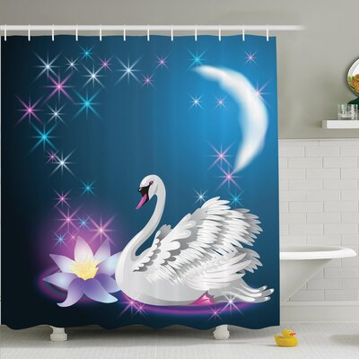 Animal Magic Lily Swan Shower Curtain Set Size: 75 H x 69 W