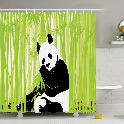 Animal Panda in Bamboo Forest Shower Curtain Set Size: 70 H x 69 W