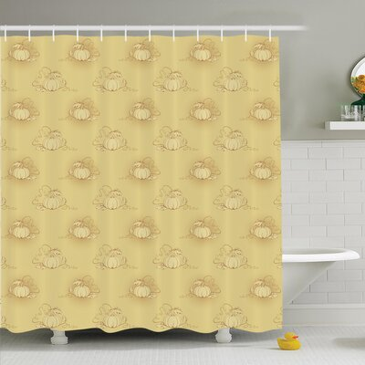 Pumpkins Field Shower Curtain Set Size: 84 H x 69 W