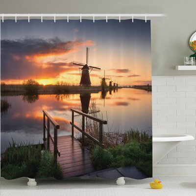 Nature Dutch Windmill River Shower Curtain Set Size: 70 H x 69 W