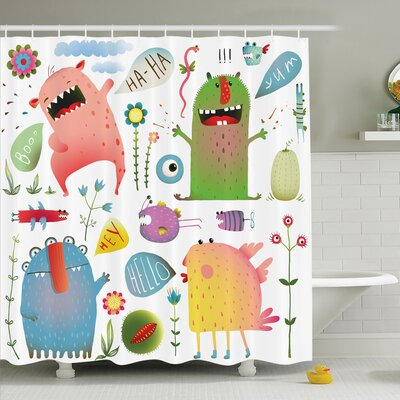 Kids Imaginary Creatures Fun Shower Curtain Set Size: 84 H x 69 W
