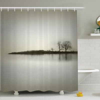 Nature Fall Trees on Island Shower Curtain Set Size: 70 H x 69 W
