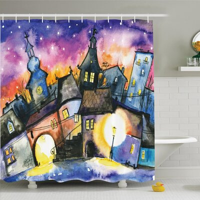 Vintage Town Night Watercolor Shower Curtain Set Size: 75 H x 69 W