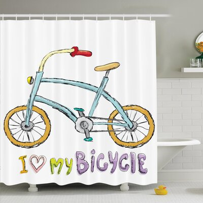 Myaa Kids Bike Love Shower Curtain Set Size: 70 H x 69 W