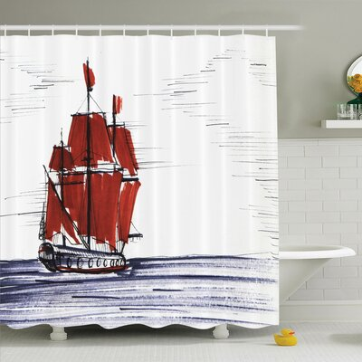Sketch Pine Forest Countryside Shower Curtain Set Size: 84 H x 69 W