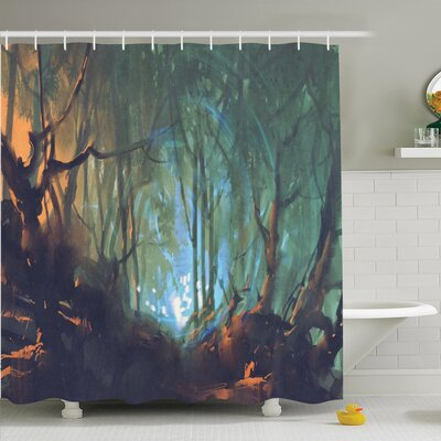 Mystic Dark Forest Artsy Shower Curtain Set Size: 75 H x 69 W
