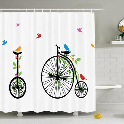 Bicycle Flying Birds Flowers Shower Curtain Set Size: 75 H x 69 W