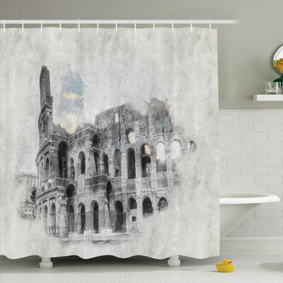 Sketch Seascape Bench Artwork Shower Curtain Set Size: 70 H x 69 W