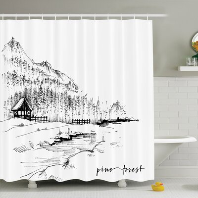 Sketch Panoramic Dubai View Shower Curtain Set Size: 75 H x 69 W