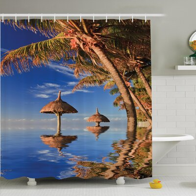 Tropical Palm Trees Ocean Calm Shower Curtain Set Size: 75 H x 69 W