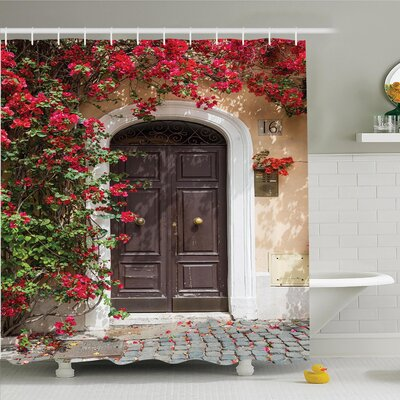 Floral Medieval Wooden Door Shower Curtain Set Size: 70 H x 69 W