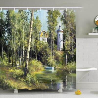 Nature Ancient House in Forest Shower Curtain Set Size: 70 H x 69 W