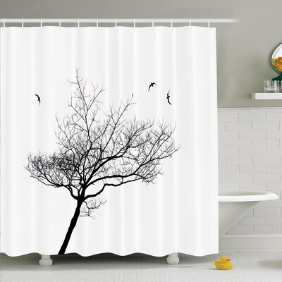 Tree Flying Birds Shower Curtain Set Size: 75 H x 69 W