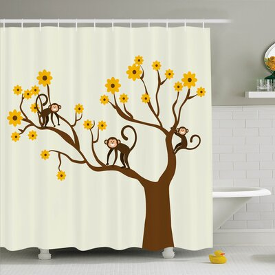 Kids Climbing Cute Monkey Fun Shower Curtain Set Size: 75 H x 69 W