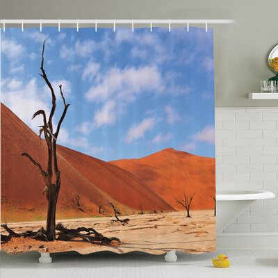 Nature Lonely Tree Skeleton Shower Curtain Set Size: 75 H x 69 W