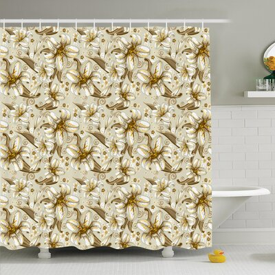 Floral Blooming Flowers Petals Shower Curtain Set Size: 75 H x 69 W