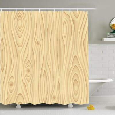 Wooden Texture Organic Shower Curtain Set Size: 84 H x 69 W