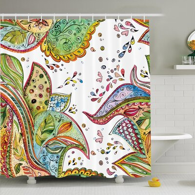 Paisley Leaves Flowers Hearts Shower Curtain Set Size: 70 H x 69 W