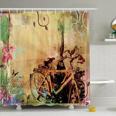 Vintage Bikes in Urban Street Shower Curtain Set Size: 75 H x 69 W