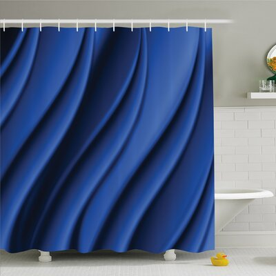 Ocean Wave Inspired Design with Digital Reflection Abstract Shower Curtain Set Size: 84 H x 69 W