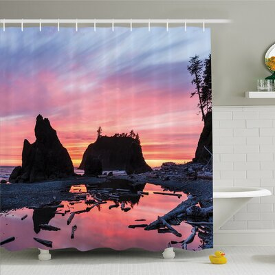 National Parks Home Sunrise in a Slow Moving Stream Pinky Soft Mist Skyline Mystic Beach Shower Curtain Set Size: 75 H x 69 W