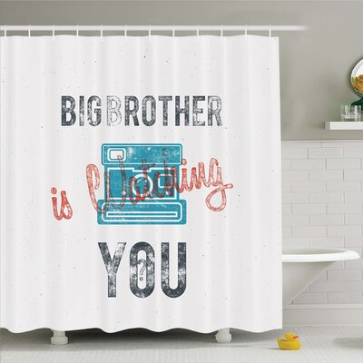 Vintage, Half Toned Big Brother Quote with Old-Fashion Analogue Camera Icon Web Print Shower Curtain Set Size: 70 H x 69 W