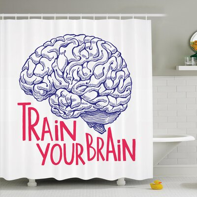 Nathanael Positive Quote on Curvy Human Brain Intelligence Head Skull Humor Modern Image Shower Curtain Set Size: 70 H x 69 W