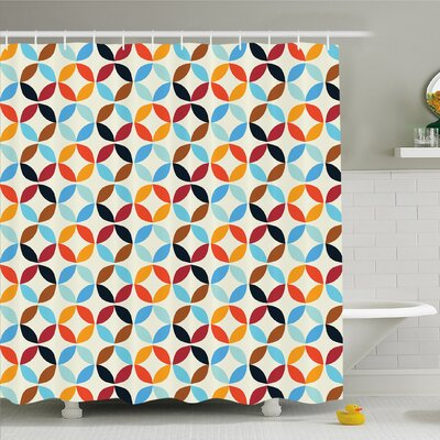 Geometric Circle Old-Fashion Bound Squaring Circle Forms in Different Tones Centre Image Shower Curtain Set Size: 84 H x 69 W