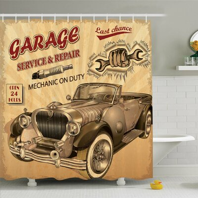 Vintage, Nostalgic Car Figure with Garage Service and Repair Store Phrase Dated Faded Shower Curtain Set Size: 84 H x 69 W