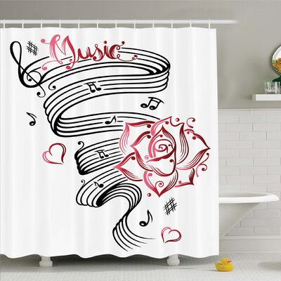 Tattoo Pencil Drawing Romantic Hourglass Symbol of Eternal Love with Roses Shower Curtain Set Size: 75 H x 69 W