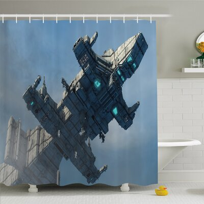 Outer Space Huge Military Ship in the Air Solar Planetary Cosmos Vehicle Shower Curtain Set Size: 75 H x 69 W