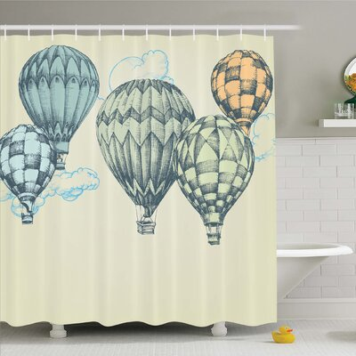 Vintage, Hot Air Balloons in Soft Tone Fly in Sky Lighter Than Air High Tourism Artful Shower Curtain Set Size: 75 H x 69 W