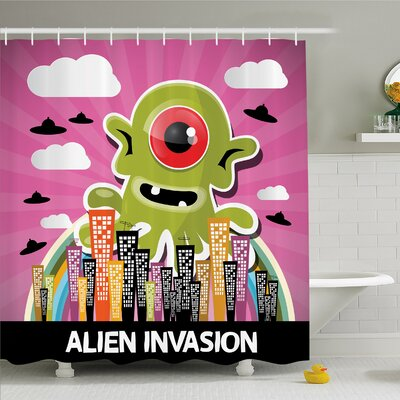 Outer Space Funny Giant Big One Eyed Monster City Urban Danger Attack Invasion Clip Design Shower Curtain Set Size: 75 H x 69 W