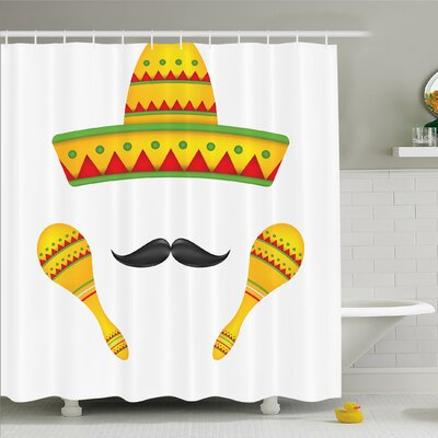 Mexican Famous Sombrero Moustache Rumba Shaker Mesoamerican Image Shower Curtain Set Size: 84 H x 69 W