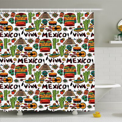 Mexican Viva Mexico with Native Elements Poncho Tequila Salsa Hot Peppers Image Shower Curtain Set Size: 75 H x 69 W
