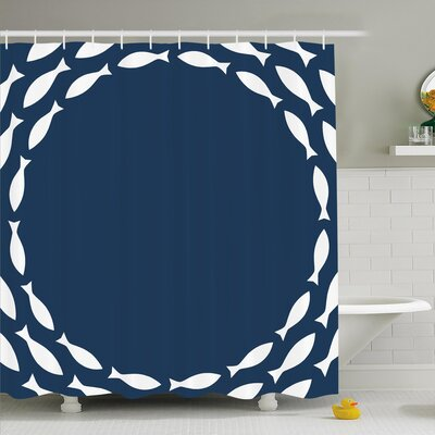 Ocean Navy School of Cute Fish Swimming in a Circle Shower Curtain Set Size: 75 H x 69 W
