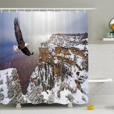 Wildlife, Aerial View of Bald Eagle Flying in Snowy Grand Canyon Rocky Arizona USA Shower Curtain Set Size: 84 H x 69 W