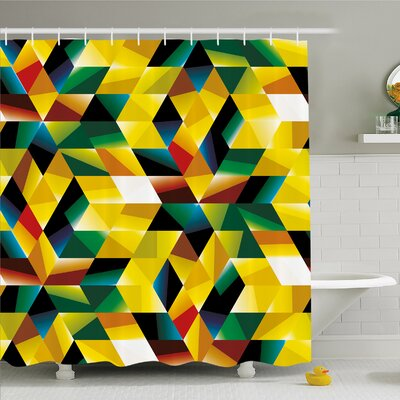 Modern Art Home Trippy Dimensional Geometric and Triangles Futuristic Design Shower Curtain Set Size: 70 H x 69 W