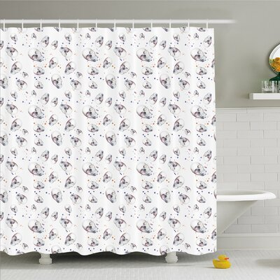 Skull with Spot Color Splashes on the Base All Souls Day Vigil Image Shower Curtain Set Size: 84 H x 69 W