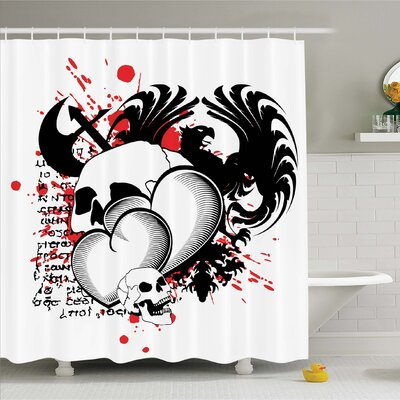 Tattoo The Majestic Creature Head of a Wild Wolf Tribal Tattoo Design Shower Curtain Set Size: 75 H x 69 W
