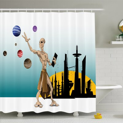Outer Space Odd Alien Celestial Body with Planets Fantastic Hero Super Powers Image Shower Curtain Set Size: 70 H x 69 W