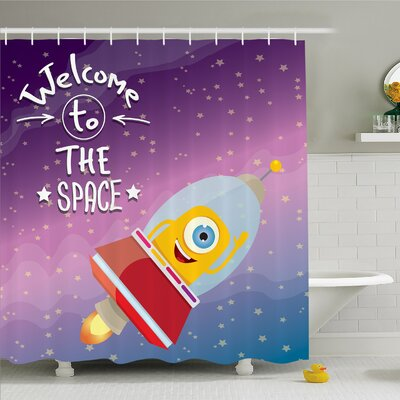 Outer Space Welcoming Quote with Retro Mascot Vessel Traveling in Milky Way Shower Curtain Set Size: 84 H x 69 W
